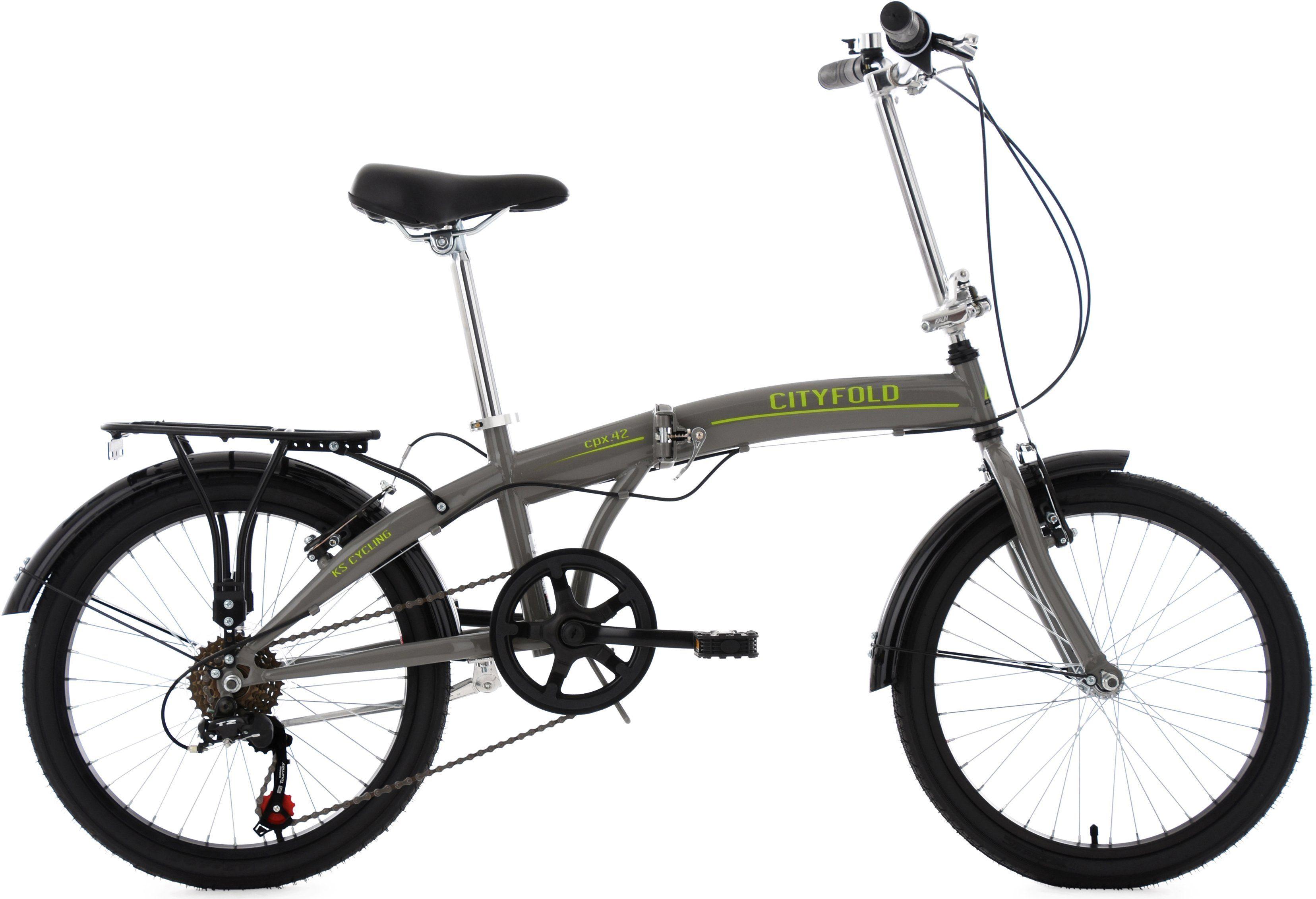 KS Cycling Faltrad »Cityfold«, 6 Gang Shimano Tourney Schaltwerk, Kettenschaltung