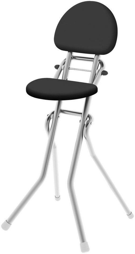Bügel Stehhilfe »klappbar, höhenverstellbar und mit gepolsterter Rückenlehne« in grau/schwarz