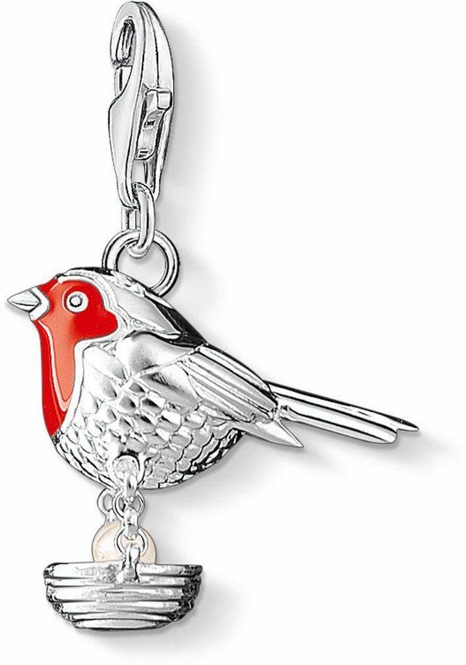 Thomas Sabo Charm-Einhänger »Vogel, 1243-158-10« mit Süßwasserzuchtperle in Silber 925-rot-weiß