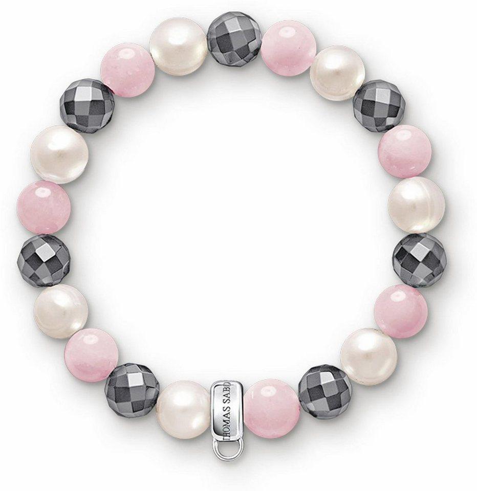 Thomas Sabo Charm-Armband »X0188-581-7-M« mit Rosenquarz, Hämatit und Süßwasserzuchtperle in Silber 925-weiß-rosa-grau