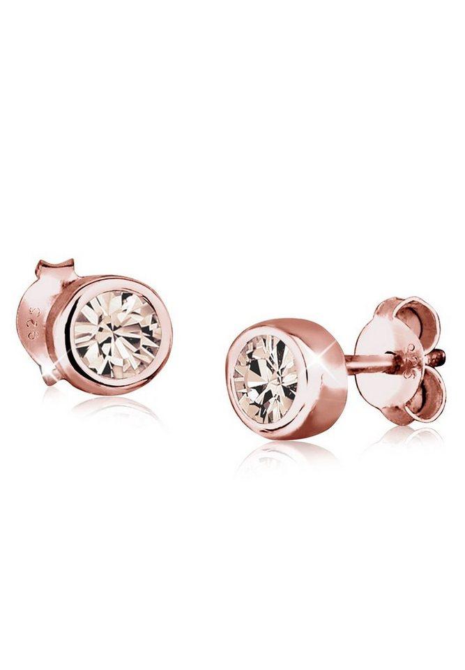 Elli Ohrringe »Basic Swarovski® Kristalle Filigran rosé vergoldet« in Braun