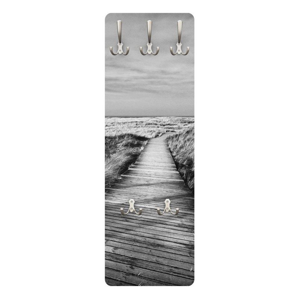 Bilderwelten Wandgarderobe 139x46x2cm »Dünenweg auf Sylt II« in Grau