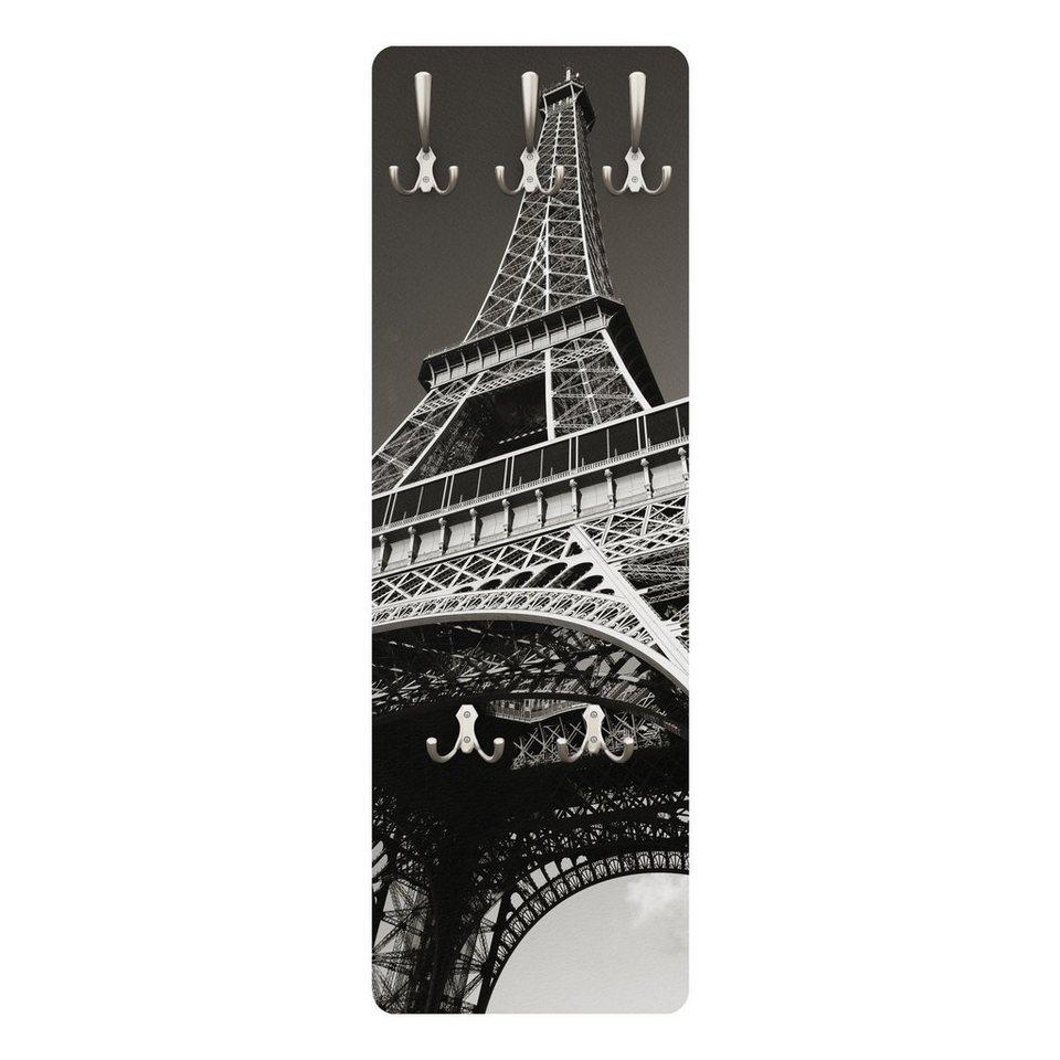 Bilderwelten Wandgarderobe 139x46x2cm »Eiffelturm« in Grau