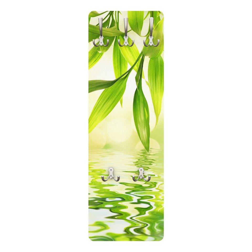 Bilderwelten Wandgarderobe Blumen 139x46x2cm »Green Ambiance I« in Grün