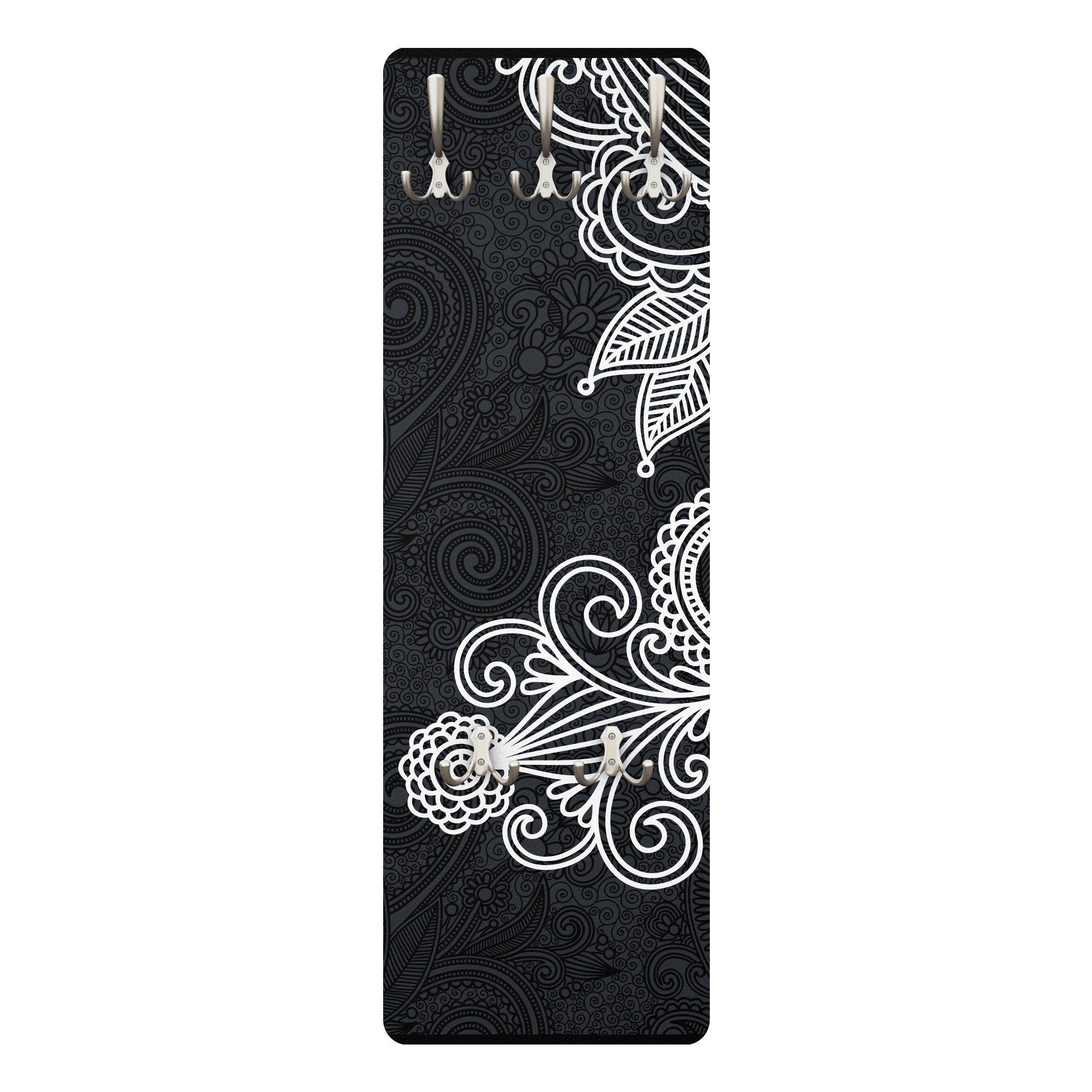 Bilderwelten Wandgarderobe 139x46x2cm »Gothic Ornament« | Flur & Diele > Garderoben > Garderobenhaken | Weiß - Matt | Holz - Faserplatte - Metall | Bilderwelten