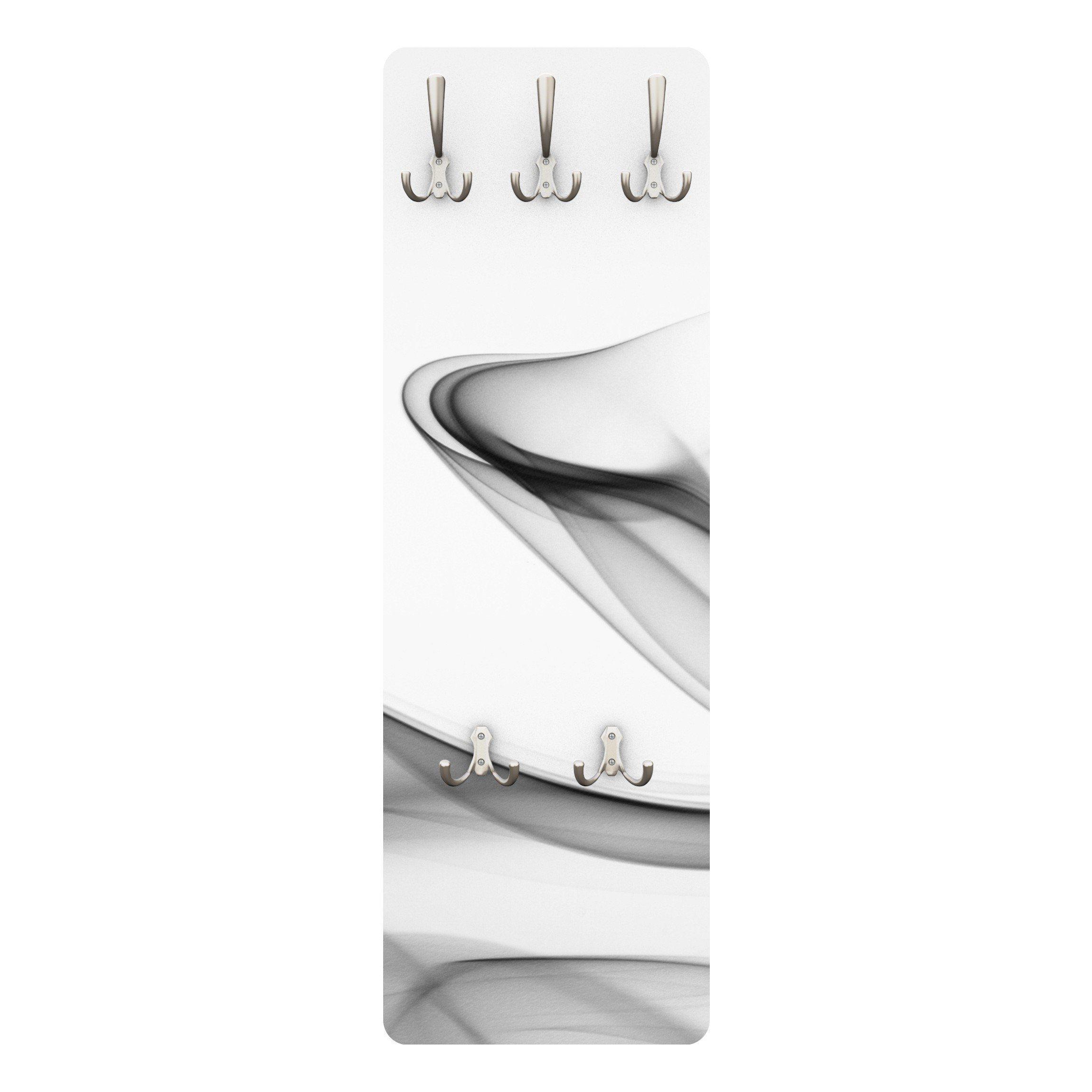 Bilderwelten Wandgarderobe Abstrakt 139x46x2cm »Grey Flame« | Flur & Diele > Garderoben > Garderobenhaken | Weiß - Matt | Holz - Faserplatte - Metall | Bilderwelten