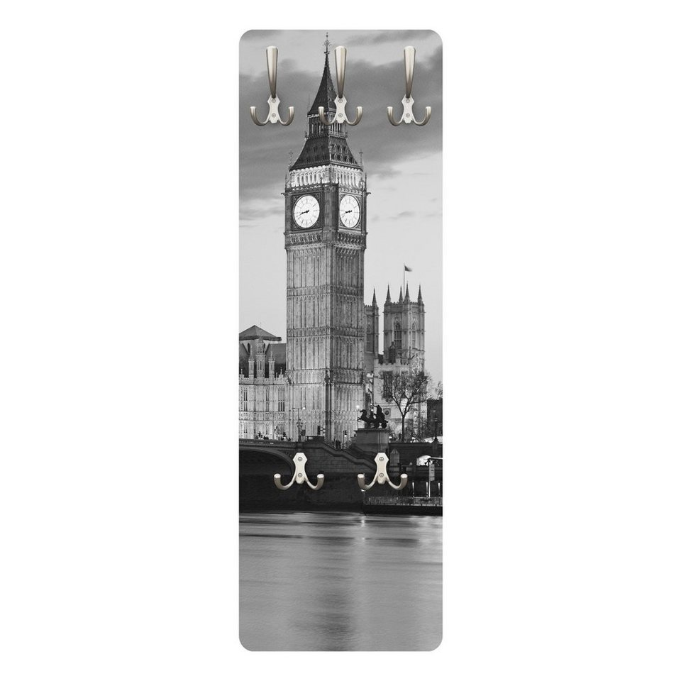 Bilderwelten Wandgarderobe 139x46x2cm »London bei Nacht II« in Grau