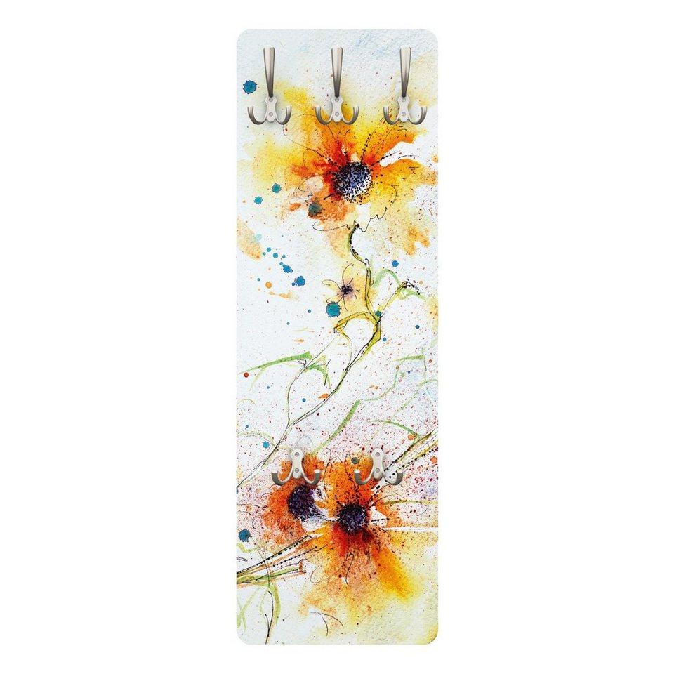Bilderwelten Wandgarderobe 139x46x2cm »Painted Flowers« in Gelb