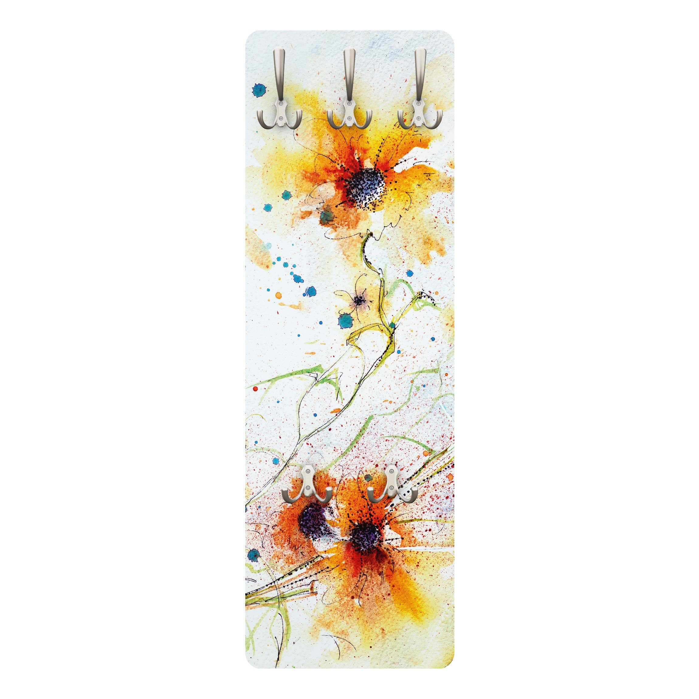 Bilderwelten Wandgarderobe 139x46x2cm »Painted Flowers«