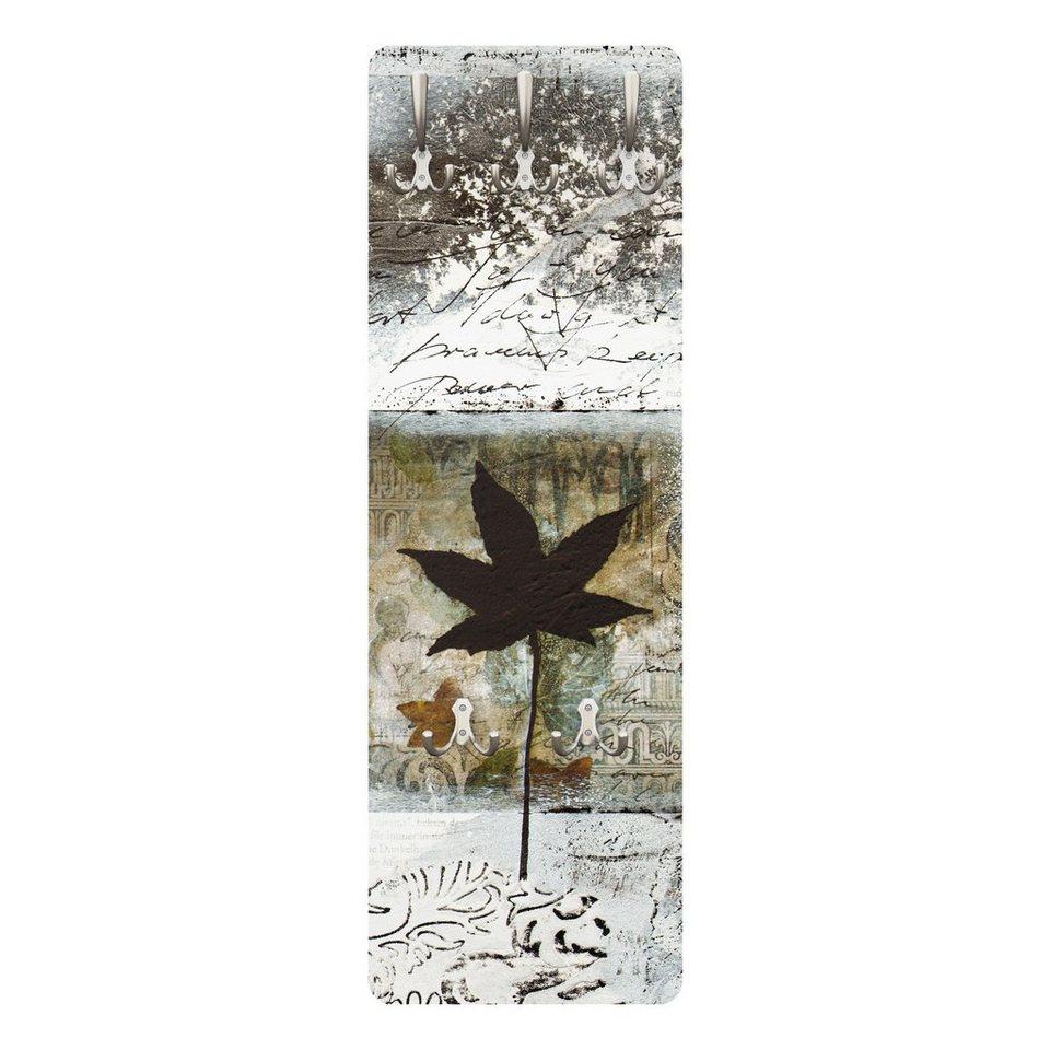 Bilderwelten Wandgarderobe Blumen 139x46x2cm »Silvery Memories« in Braun
