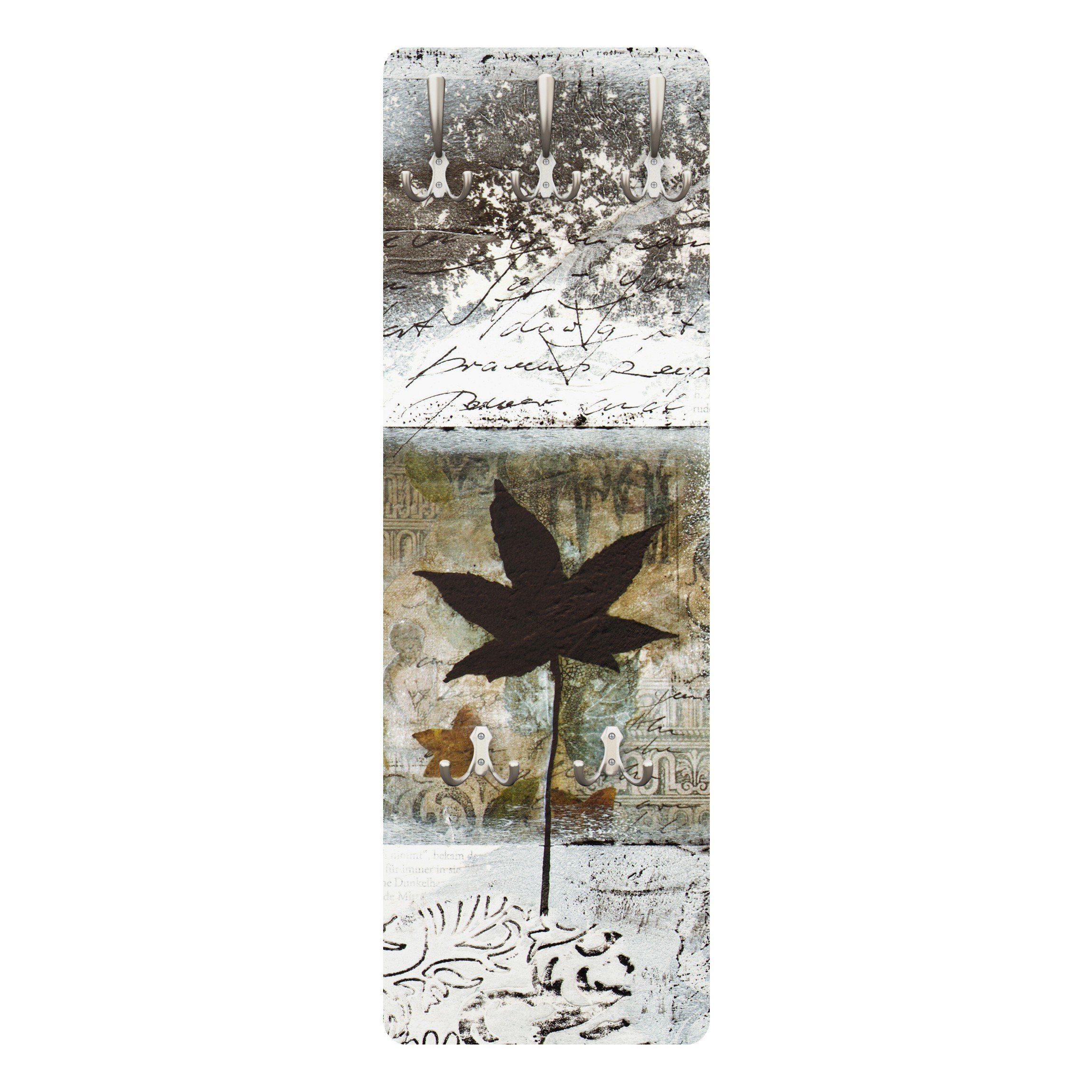 Bilderwelten Wandgarderobe Blumen 139x46x2cm »Silvery Memories«