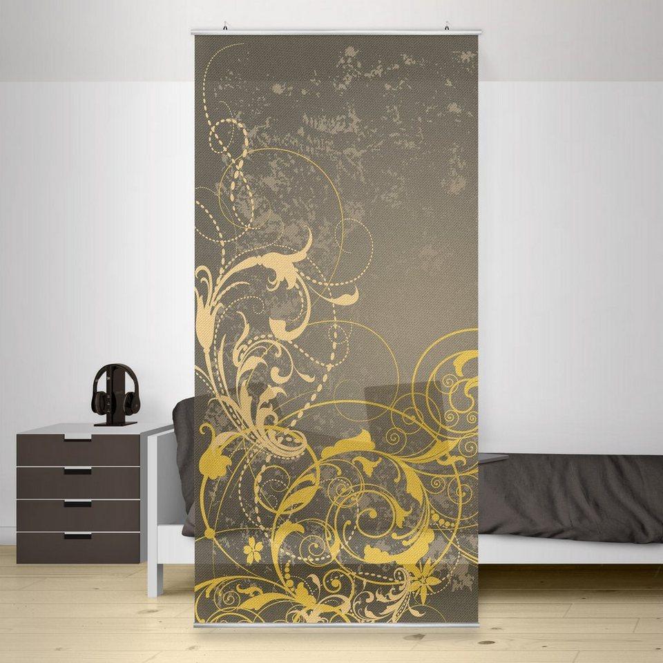 Bilderwelten Raumteiler 250x120cm »Schnörkel in Gold« in Gelb