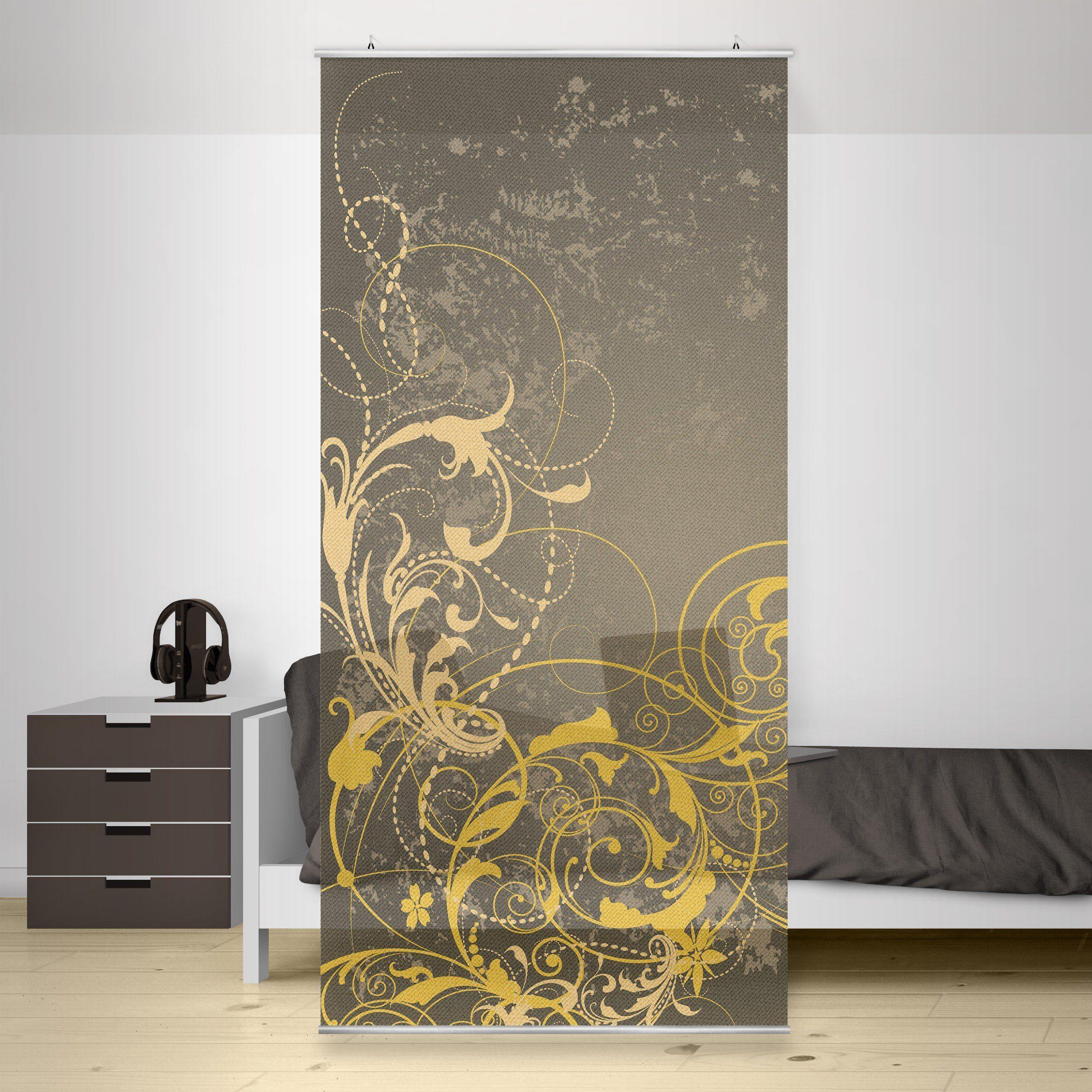 Bilderwelten Raumteiler 250x120cm »Schnörkel in Gold«