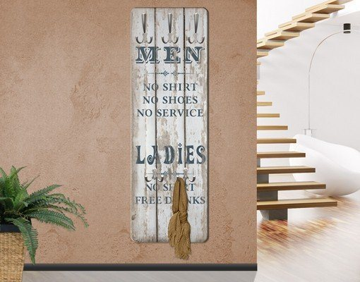 Bilderwelten Garderobe Shabby Chic 139x46x2cm »No.RS181 Men and Ladies« in Grau