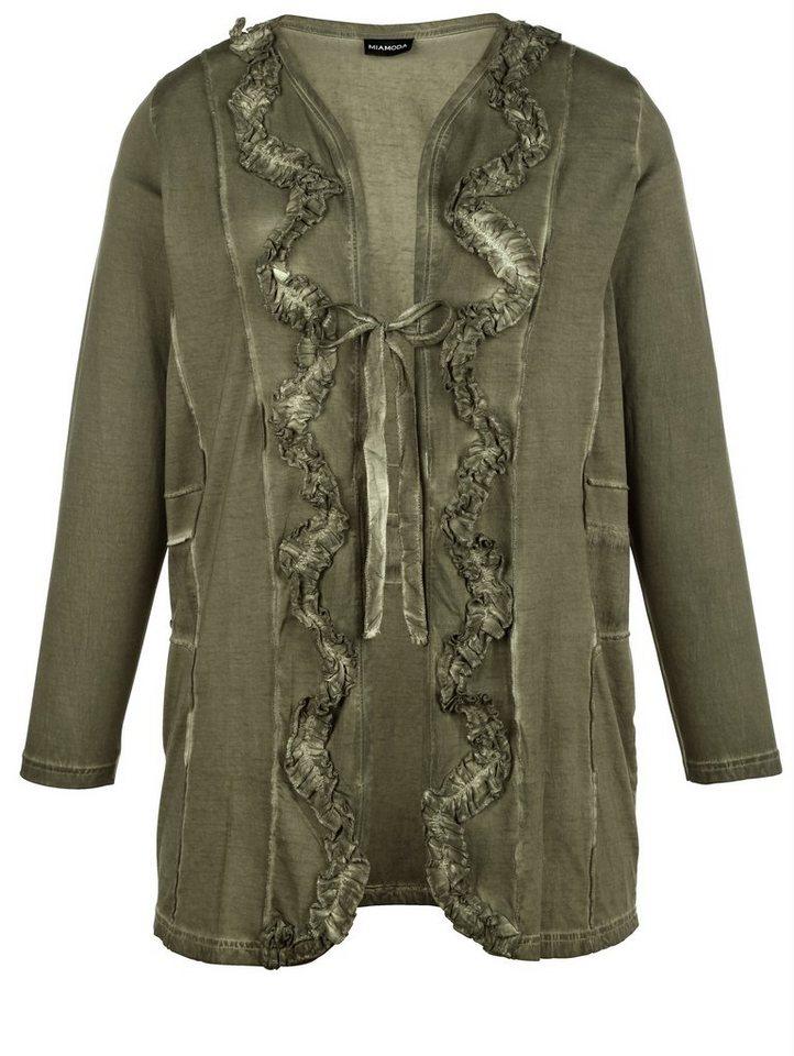 MIAMODA Shirtjacke in modischer Used-Optik in khaki