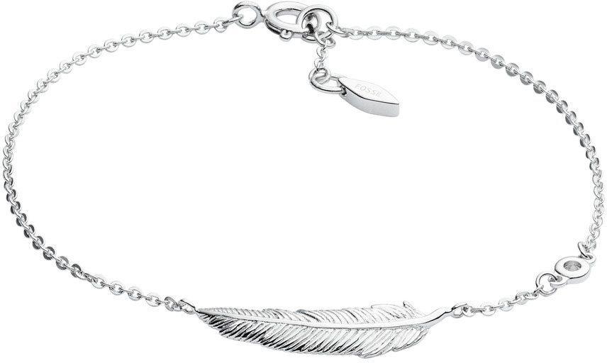 Fossil Armband mit Zirkonia, »Feder, Sterling Silver, JFS00406040« in Silber 925