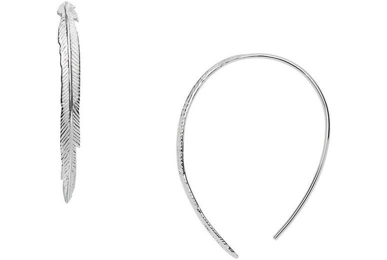 Fossil Paar Ohrhaken, »Feder, Sterling Silver, JFS00405040«