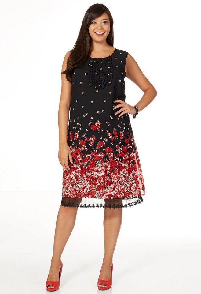 sheego Style Kleid mit Blütendruck in schwarz-rot