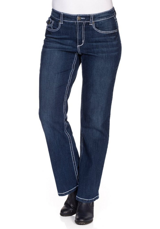 sheego Denim Weite Stretch-Jeans mit Kontrastnähten in dark blue Denim