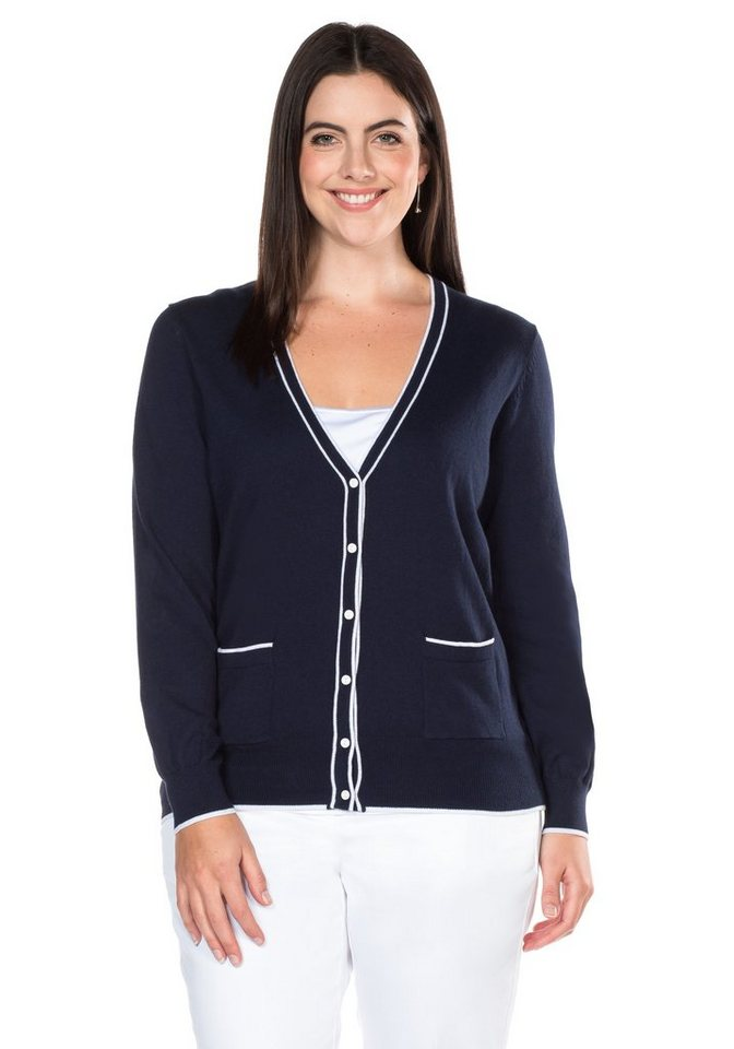 sheego Class Cardigan in marine-weiß