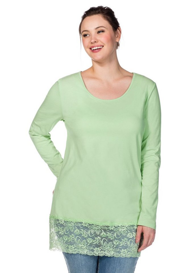 sheego Casual BASIC Longshirt in apfelgrün