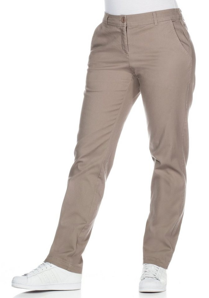 sheego Casual Gerade Stretch-Hose in taupe