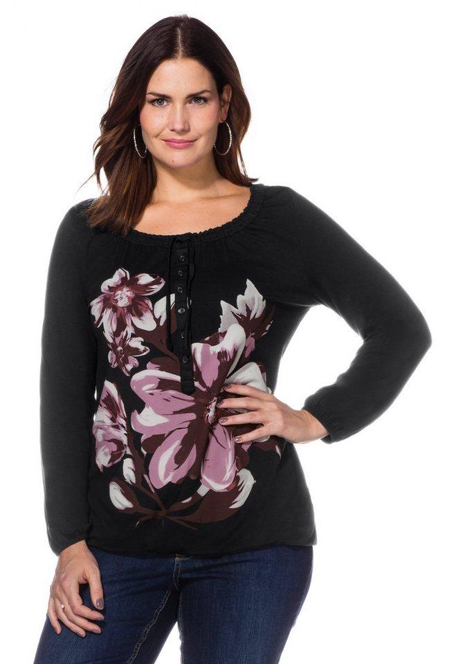 sheego Style Langarmshirt in schwarz bedruckt