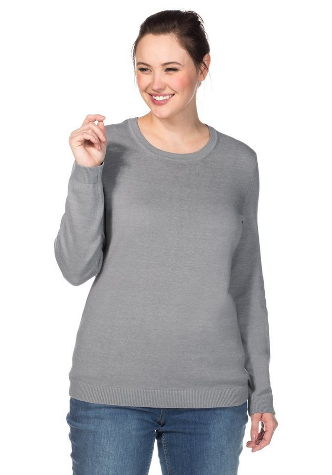 sheego Casual BASIC Pullover in grau meliert