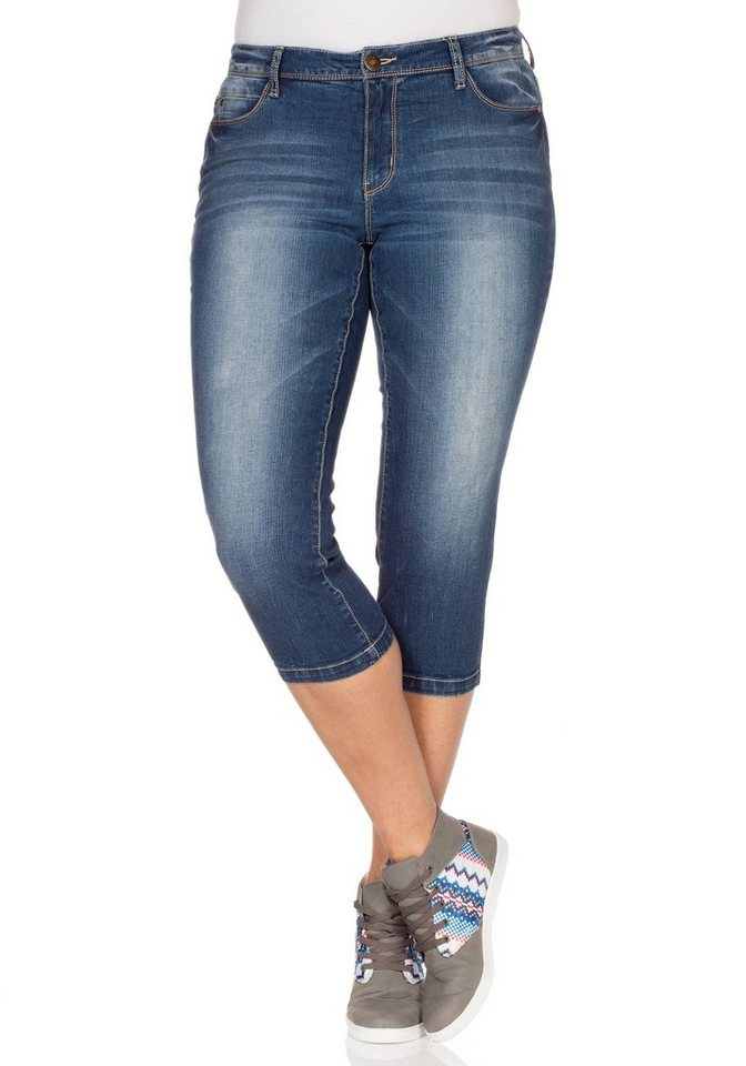 sheego Denim Schmale 3/4-Jeans in dark blue