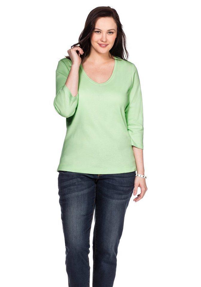 sheego Casual Basic Shirt V-Ausschnitt in apfelgrün