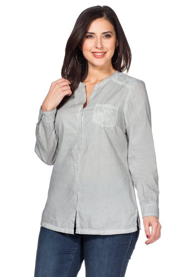 sheego Style Bluse in pastellgrau