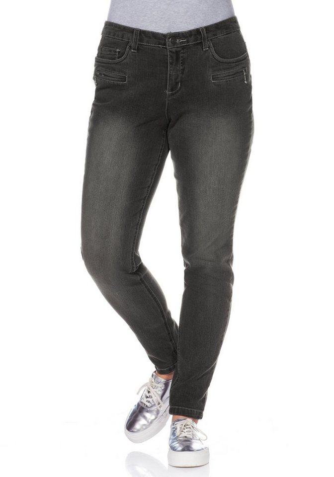 sheego Denim Schmale Stretch-Jeans in grey used