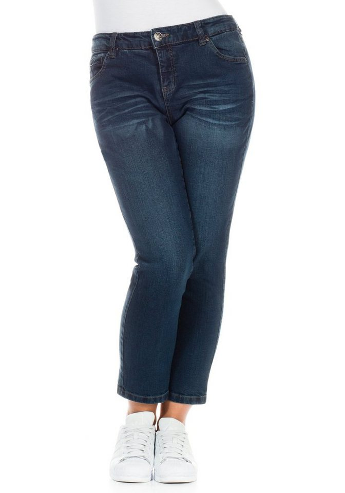 sheego Denim Schmale Stretch-Jeans in dark blue denim