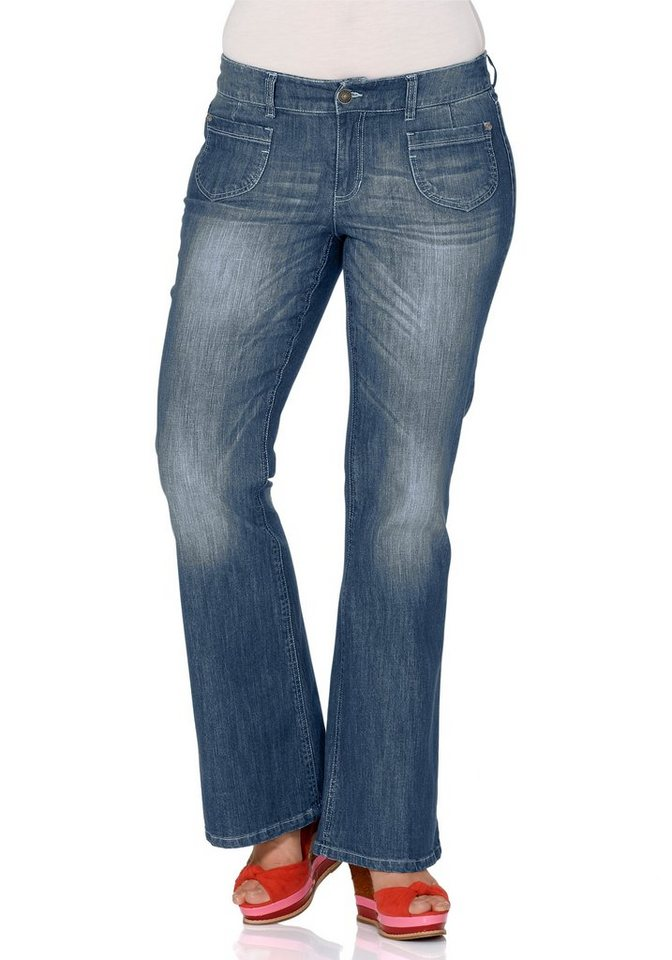 sheego Denim Bootcut-Stretch-Schlagjeans in blue denim
