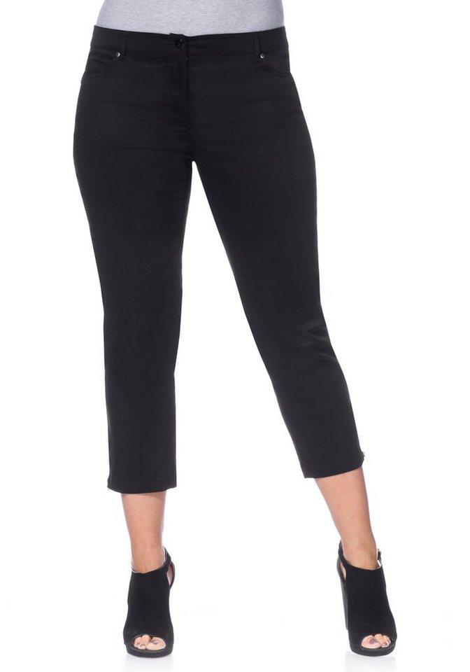 sheego Style Schmale Stretch-Hose in schwarz