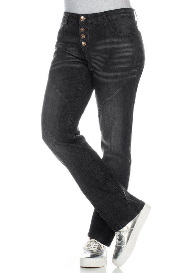 sheego DenimGerade Stretch-Jeans Lana in black denim