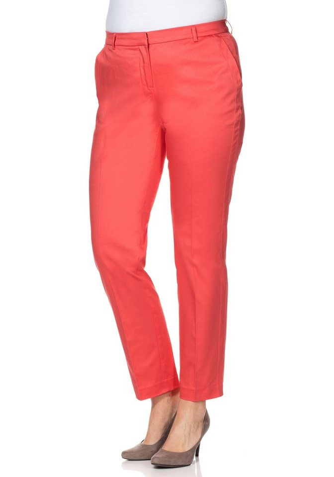sheego Class Chino Stretch-Hose in koralle
