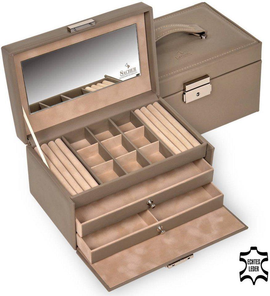 Sacher Schmuckkoffer aus hochwertigem Leder in taupe