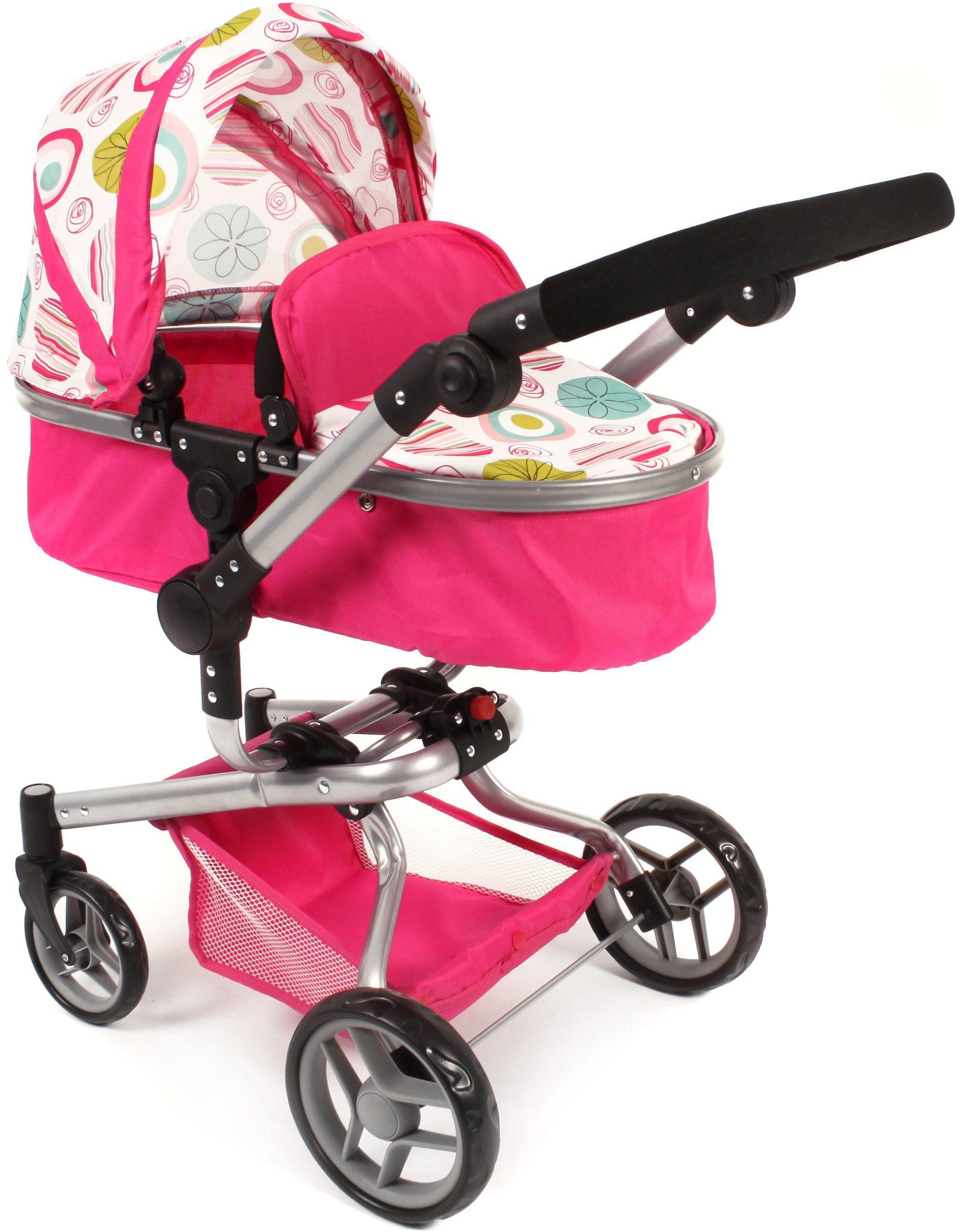 CHIC2000 Kombi Puppenwagen mit schwenkbaren Vorderrädern, »YOLO Weiß-Pink«