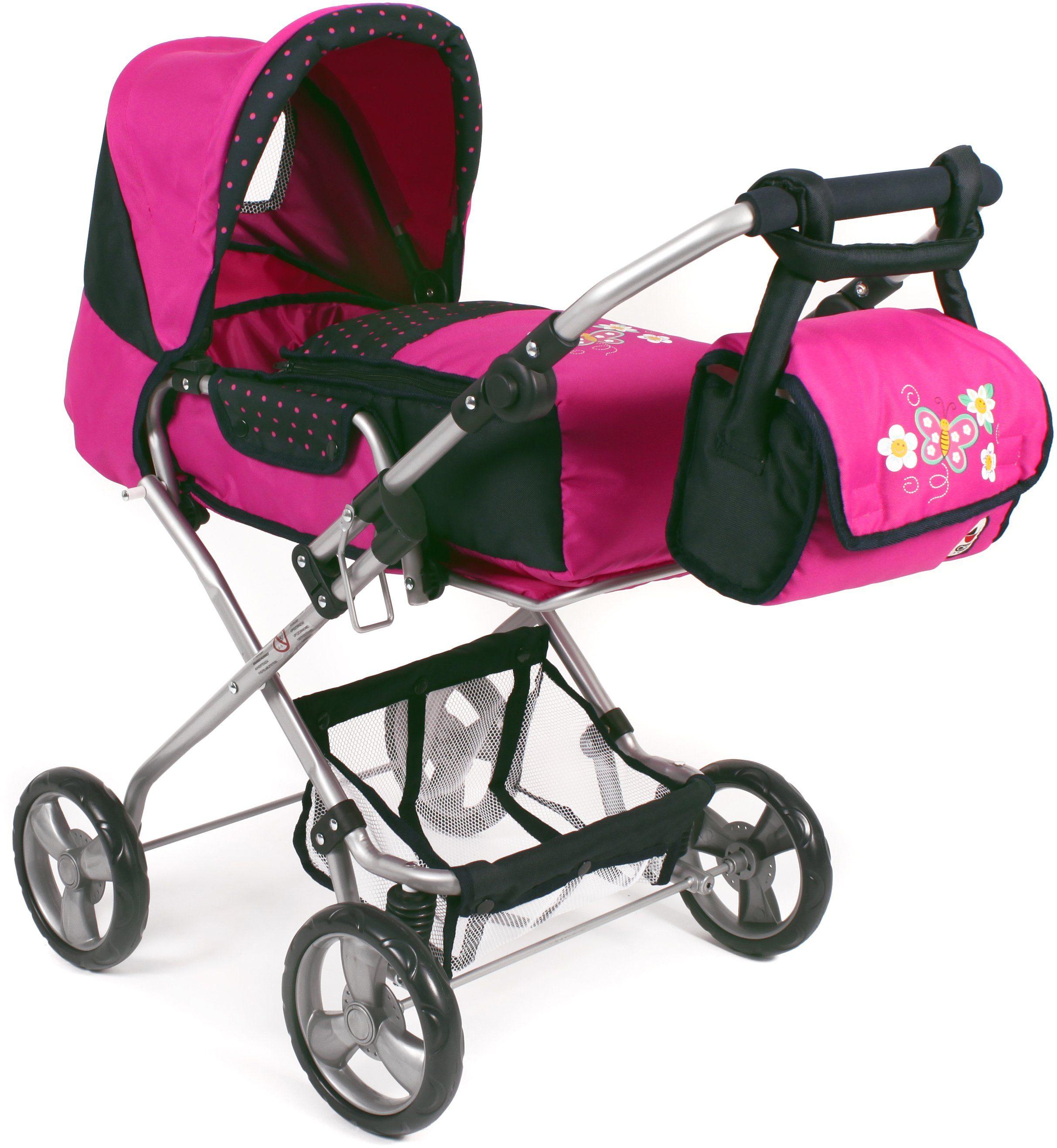 CHIC2000 Kombi Puppenwagen mit herausnehmbarer Tragetasche, »BAMBINA navy-pink«