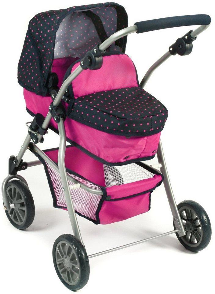 CHIC2000 Kombi Puppenwagen mit schwenkbaren Vorderrädern, »SPEEDY Navy-pink« in navy-pink