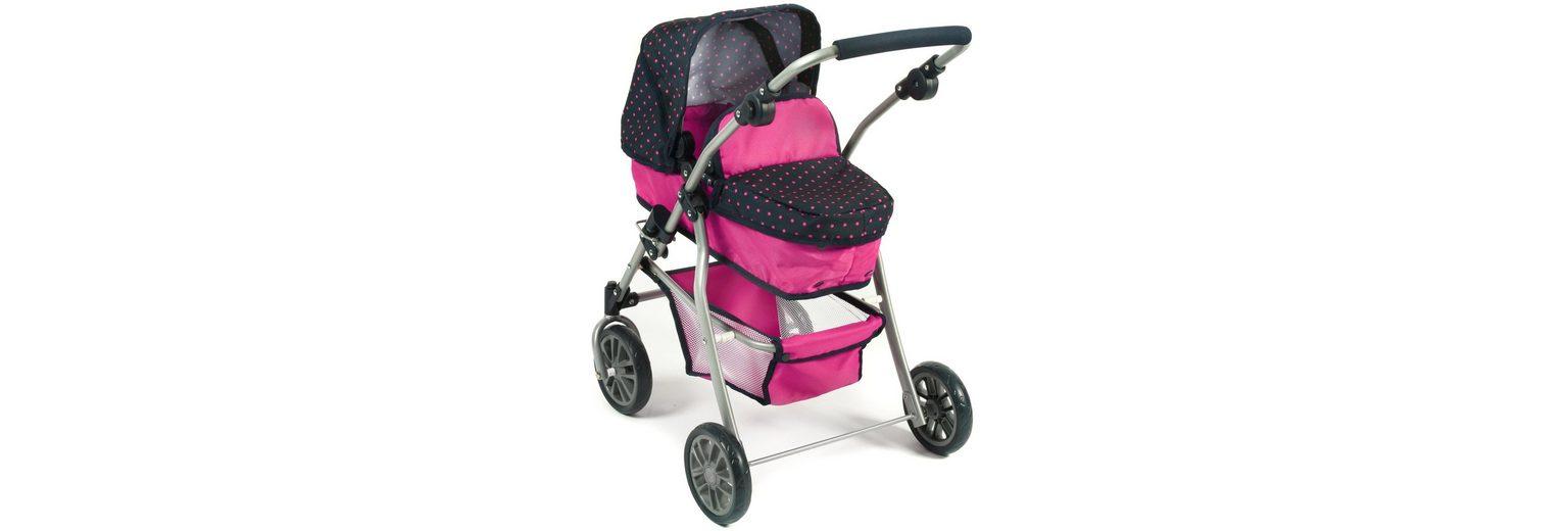 CHIC2000 Kombi Puppenwagen mit schwenkbaren Vorderrädern, »SPEEDY Navy-pink«