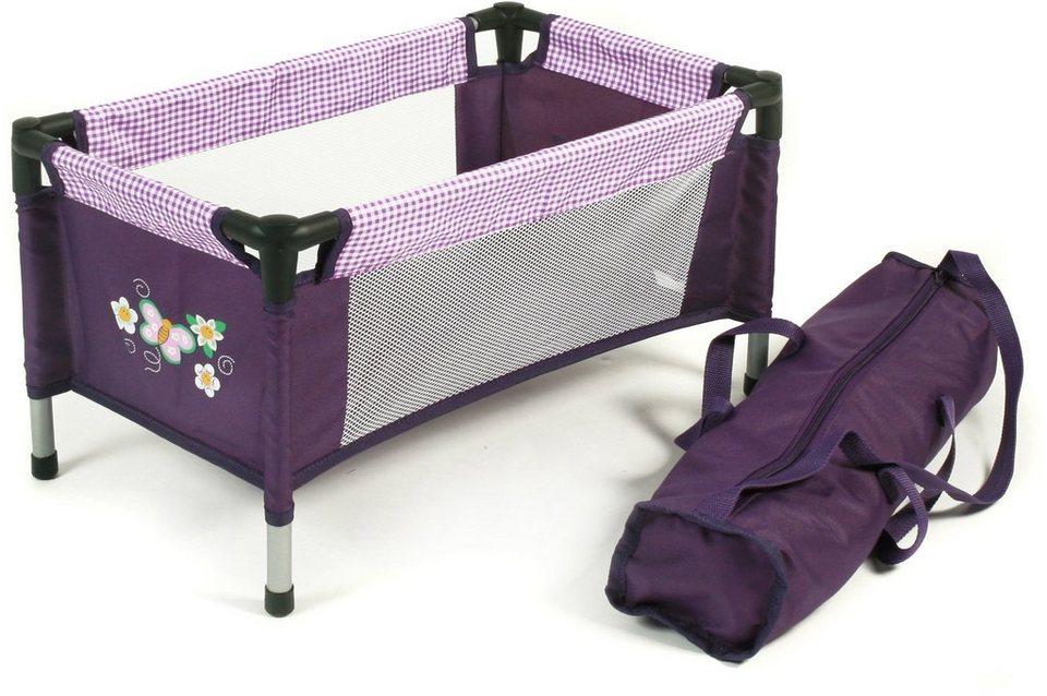 CHIC2000 Puppen Reisebett mit Stoff Tragetasche, »Purple Checker« in purple