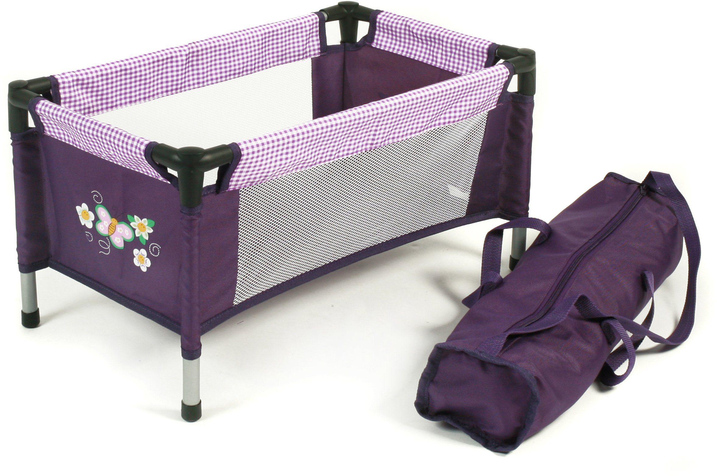 CHIC2000 Puppen Reisebett mit Stoff Tragetasche, »Purple Checker«