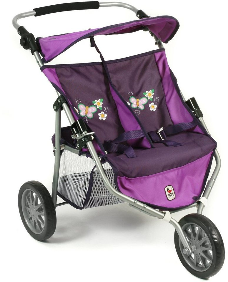 CHIC2000 Puppen Buggy mit umklappbarem Sonnenverdeck, »Zwillingsjogger purple« in purple