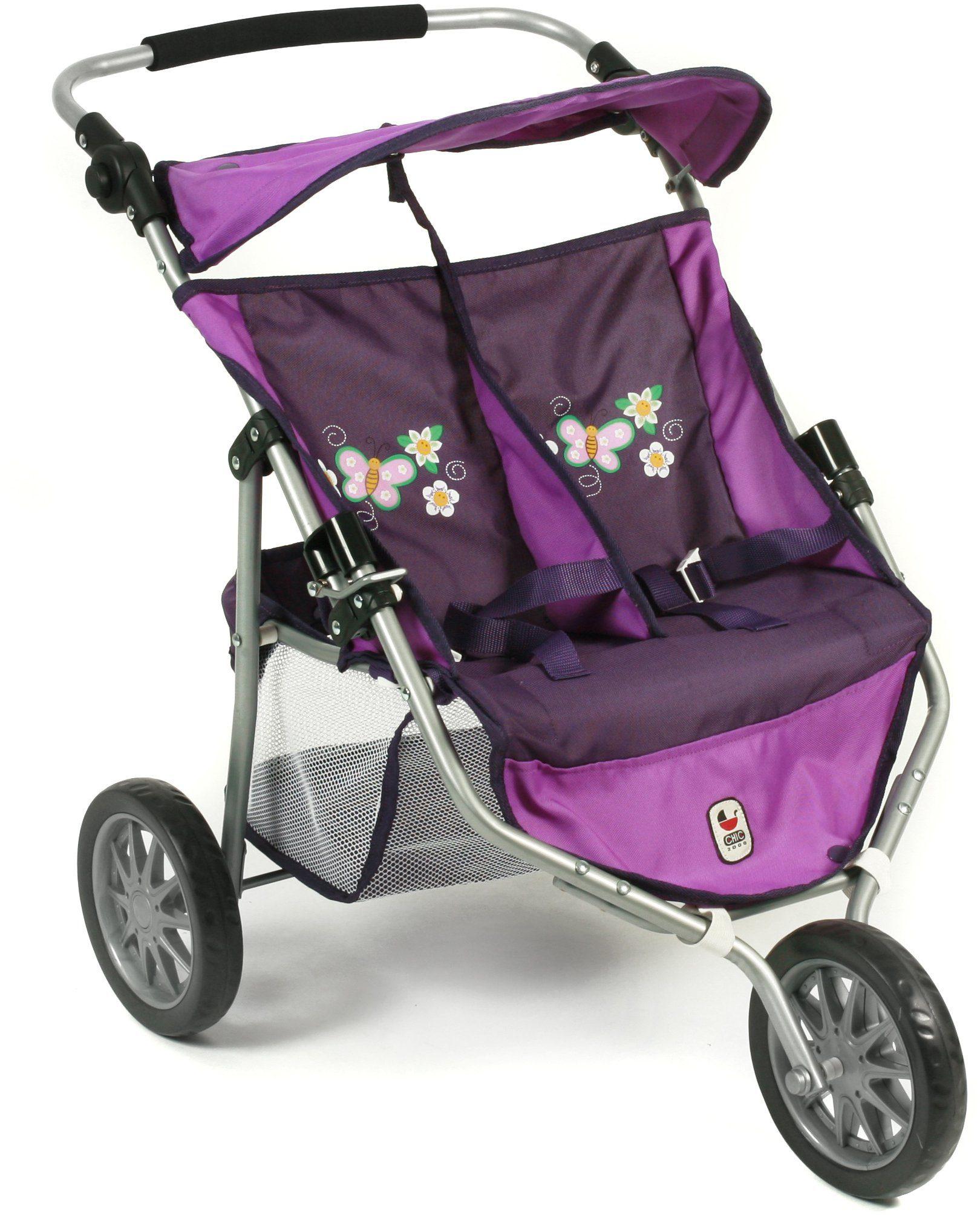 CHIC2000 Puppen Buggy mit umklappbarem Sonnenverdeck, »Zwillingsjogger purple«