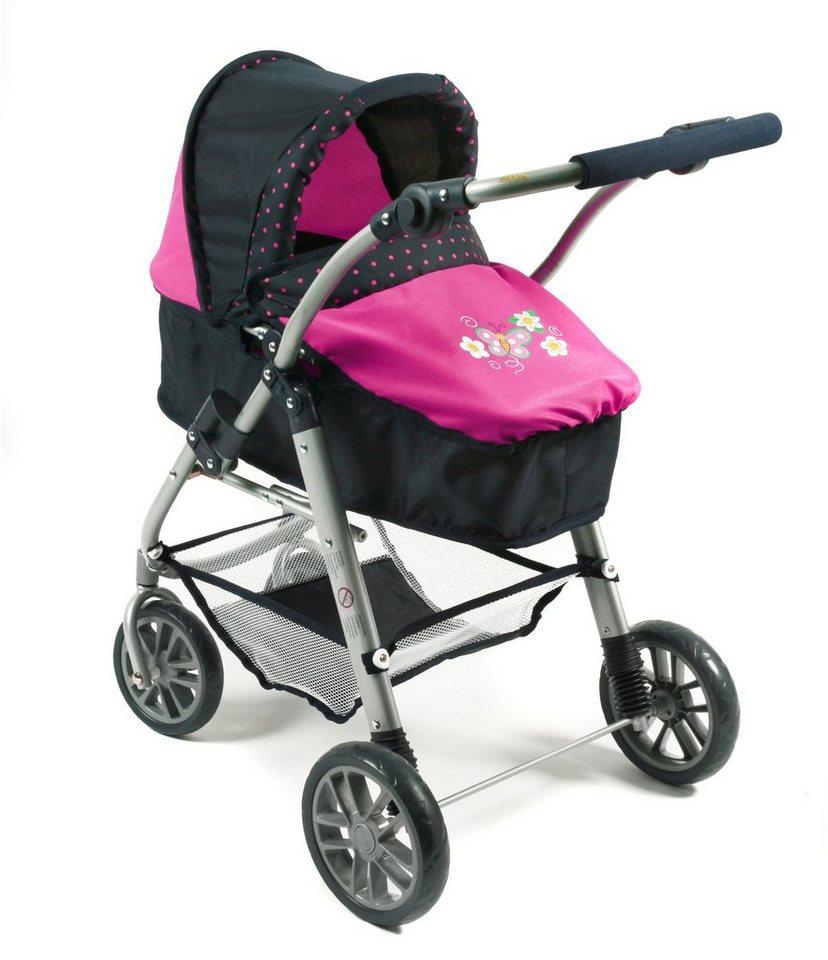 CHIC2000 Kombi Puppenwagen mit drehbarem Babywannen Aufsatz, »EMILIA navy-pink« in navy-pink