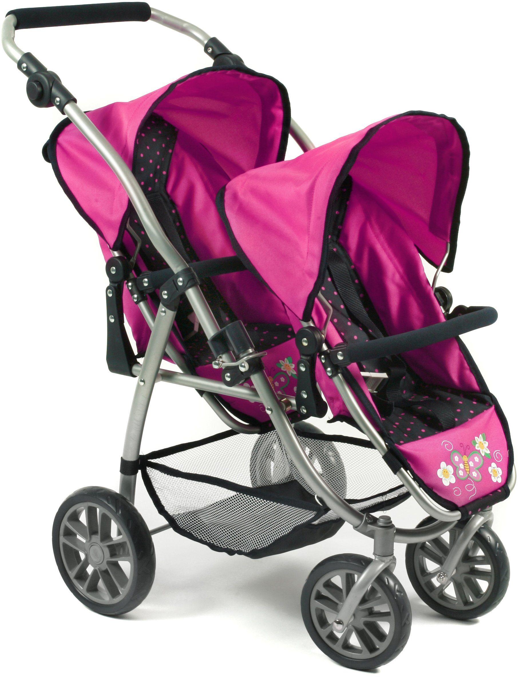 CHIC2000 Puppen Tandembuggy mit schwenkbaren Vorderrädern, »VARIO navy-pink«