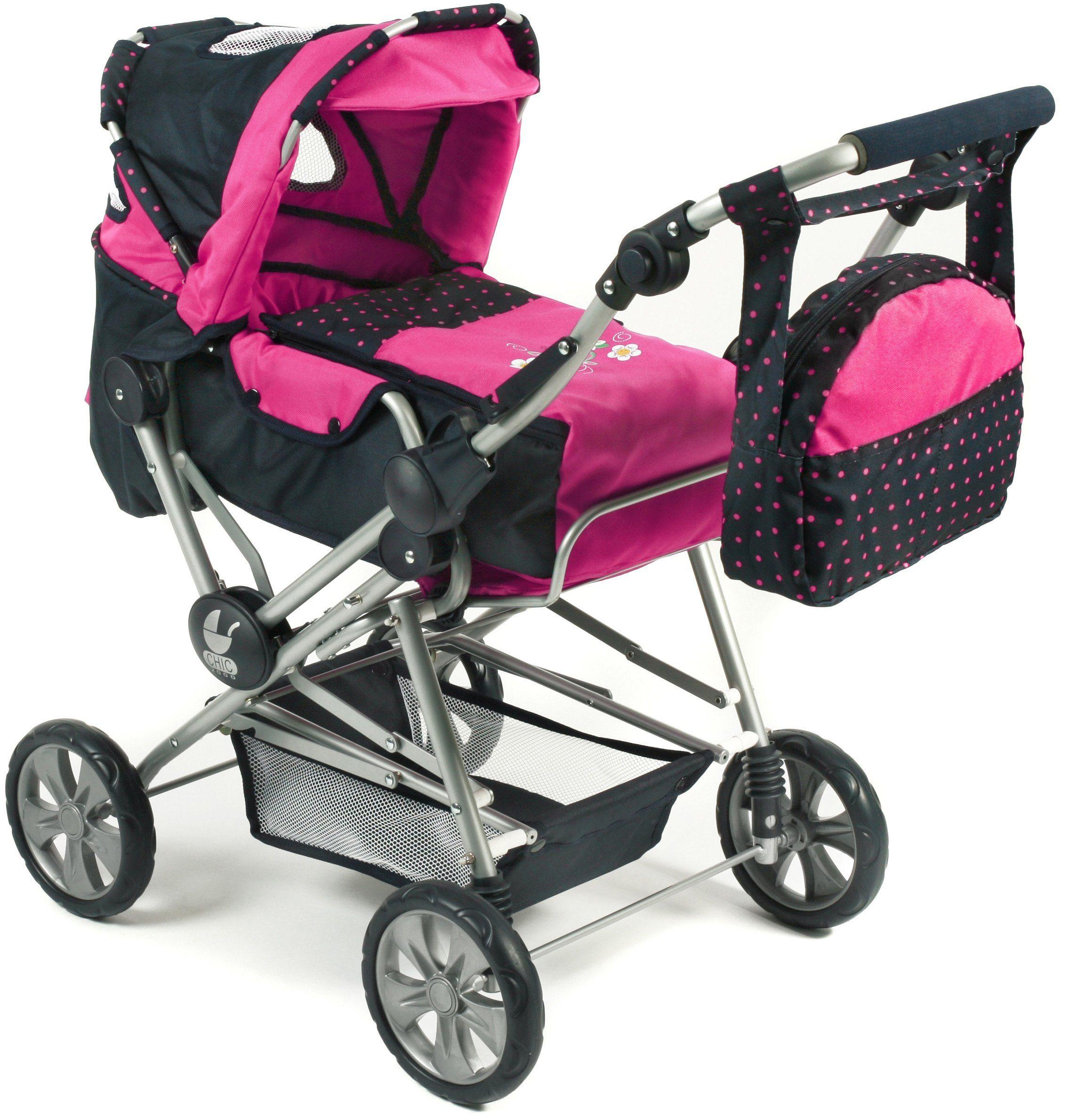CHIC2000 Kombi Puppenwagen mit herausnehmbarer Tragetasche, »ROAD STAR Navy-pink«