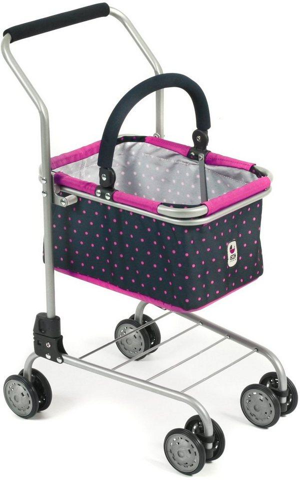 CHIC2000 Puppen Supermarkt Einkaufswagen mit herausnehmbarem Einkaufskorb, »navy-pink«